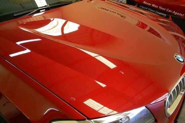 A red BMW with glass coating