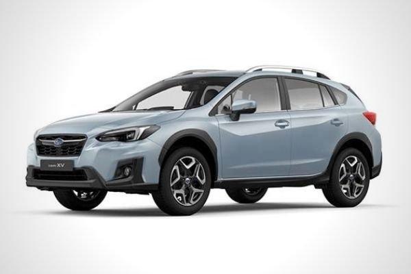 A gray Subaru XV with white background