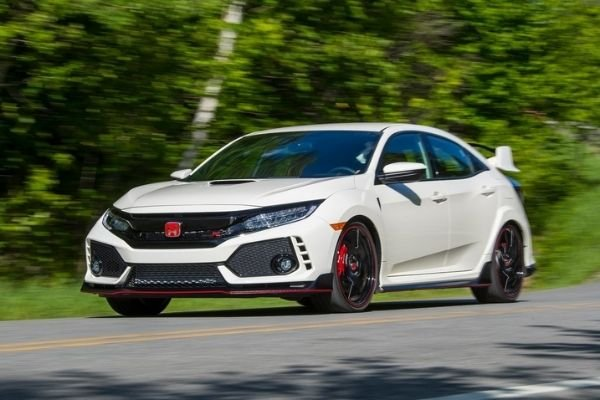 A white Civic Type R on the road