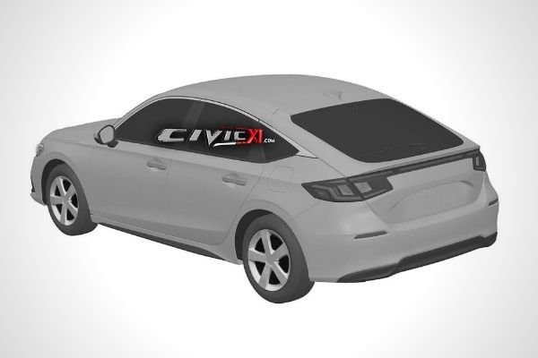 Rear view of the 2022 Civic Hatchback patent image