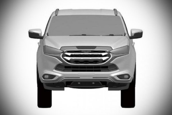 A picture of the front of the 2021 Isuzu mu-X patent image.