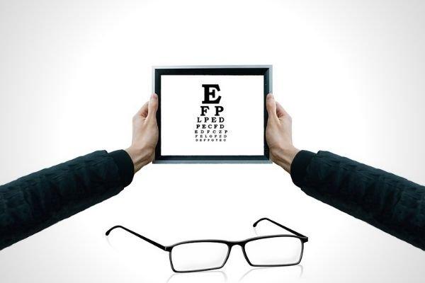 A man doing an eye test