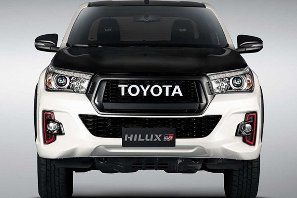 A picture of the front of the GR Hilux.