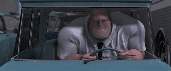 Bob Parr from The Incredibles driving his car