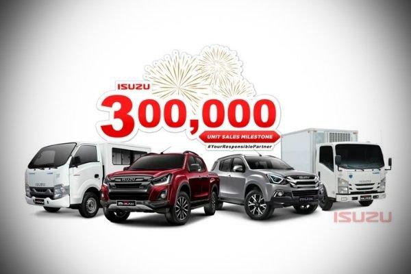 A picture of the 300k Isuzu sales milestone.