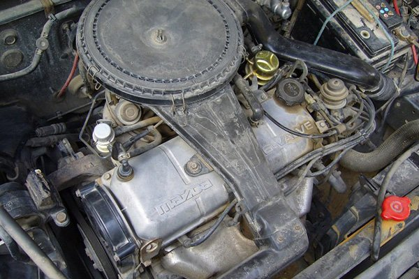A picture of the Mazda 323's engine.