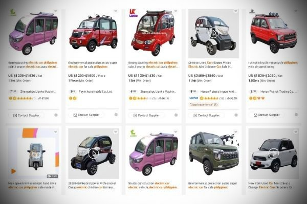 A picture of different EVs from Alibaba.