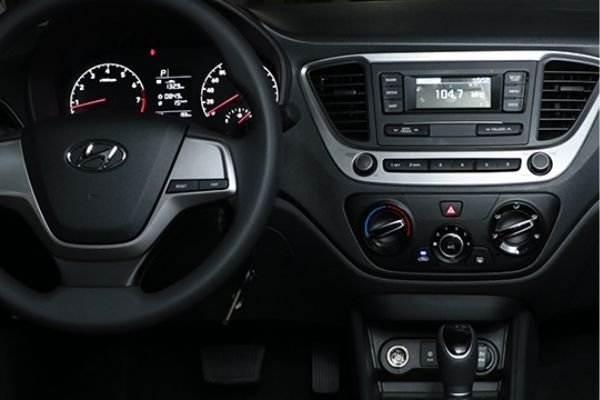 A picture of the interior of the Hyundai Accent.