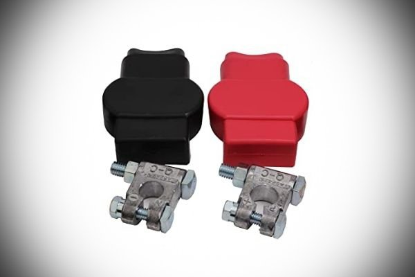 A picture of brand new battery clamps.