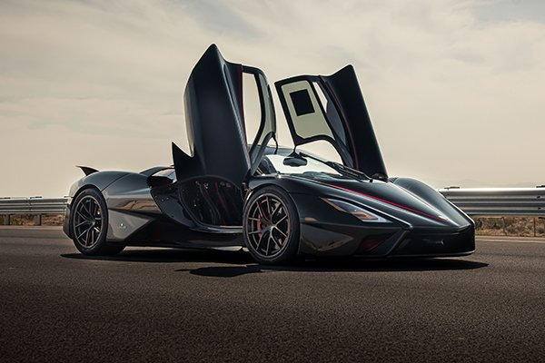 The SSC Tuatara parked with its doors open.