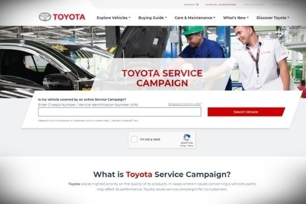 Toyota Service Campaign Landing Page