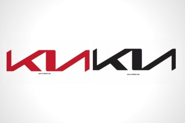 The new Kia logo in black and red