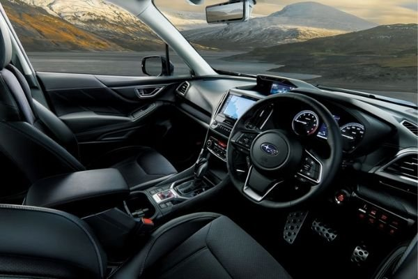 A picture of the interior of the Forester Sport Turbo.