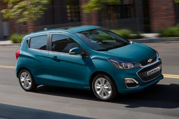 A picture of the Chevrolet Spark on the road.