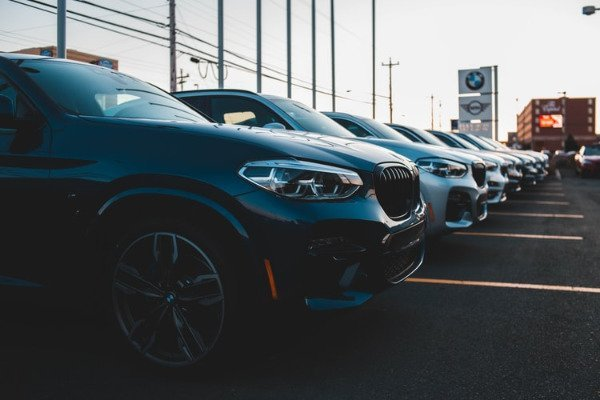 A picture of a used car lot.