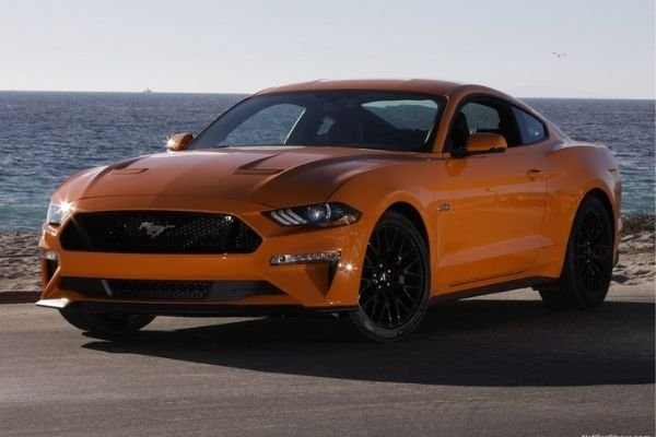 A picture of the Ford Mustang GT parked with an ocean backdrop.
