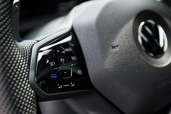 A closeup of the VW Golf R's steering wheel