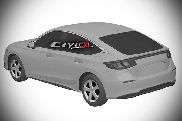 A picture of the rear part of the 2021 Civic patent image.