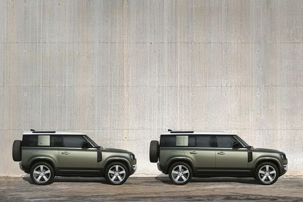 Two different body options for the Land Rover Defender