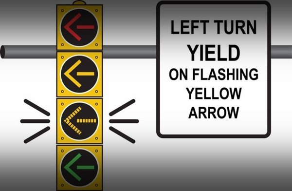 A picture of a traffic light with a blinking yellow arror
