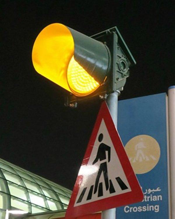 blinking yellow traffic light