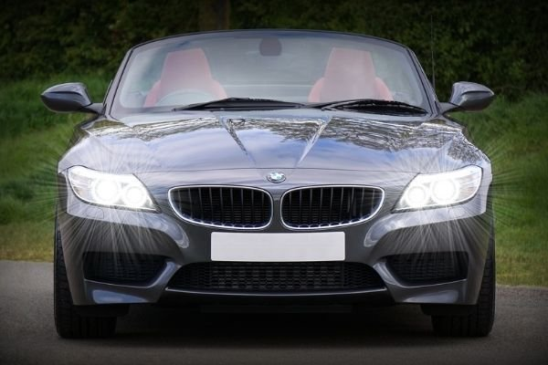 BMW with turned on high beams