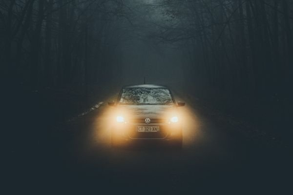 A car in a foggy place