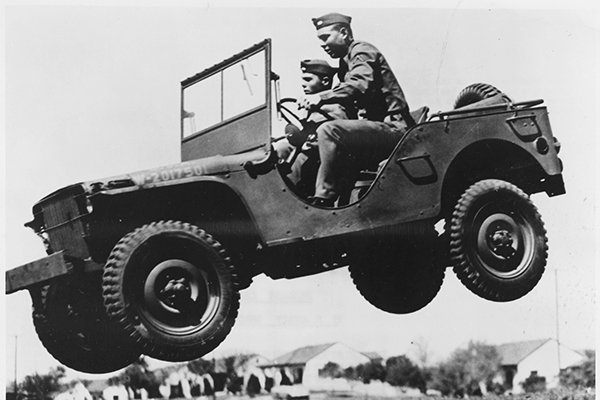 A picture of a GP jeep jumping