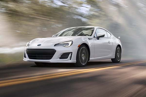 The Subaru BRZ on the road.
