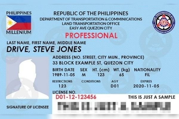 An LTO professional driver's license format