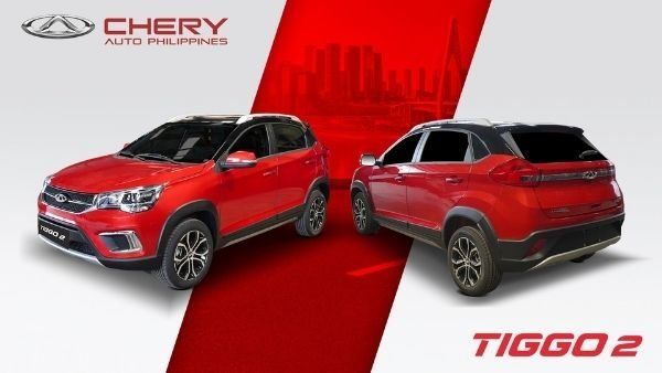 A picture of the Chery Tiggo 2 two-tone with a red paint scheme