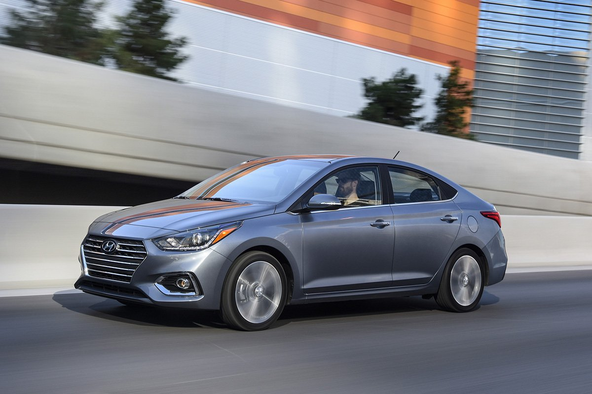 A picture of the US-spec Hyundai Accent on the road