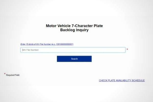LTO webpage for mv file number verification