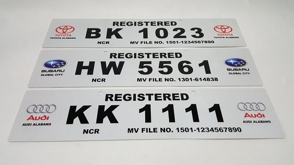 Temporary plate numbers from different brands