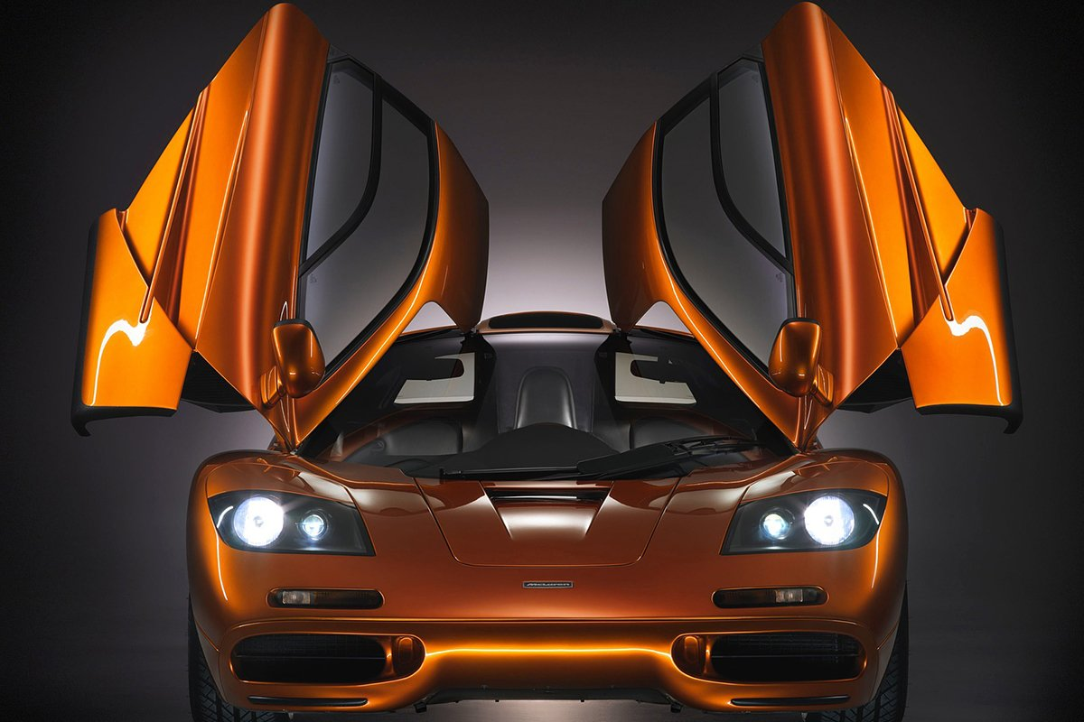 A picture of the front of the McLaren F1 with the doors open