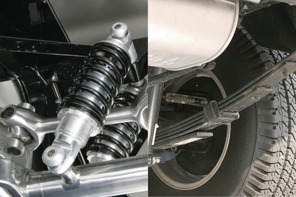 A picture of coil spring and leaf spring suspensions side by side