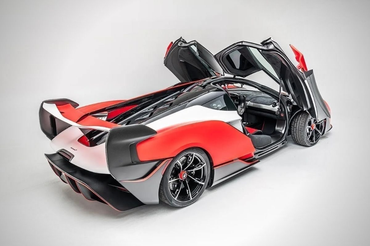 A picture of the McLaren Sabre's rear with the doors open