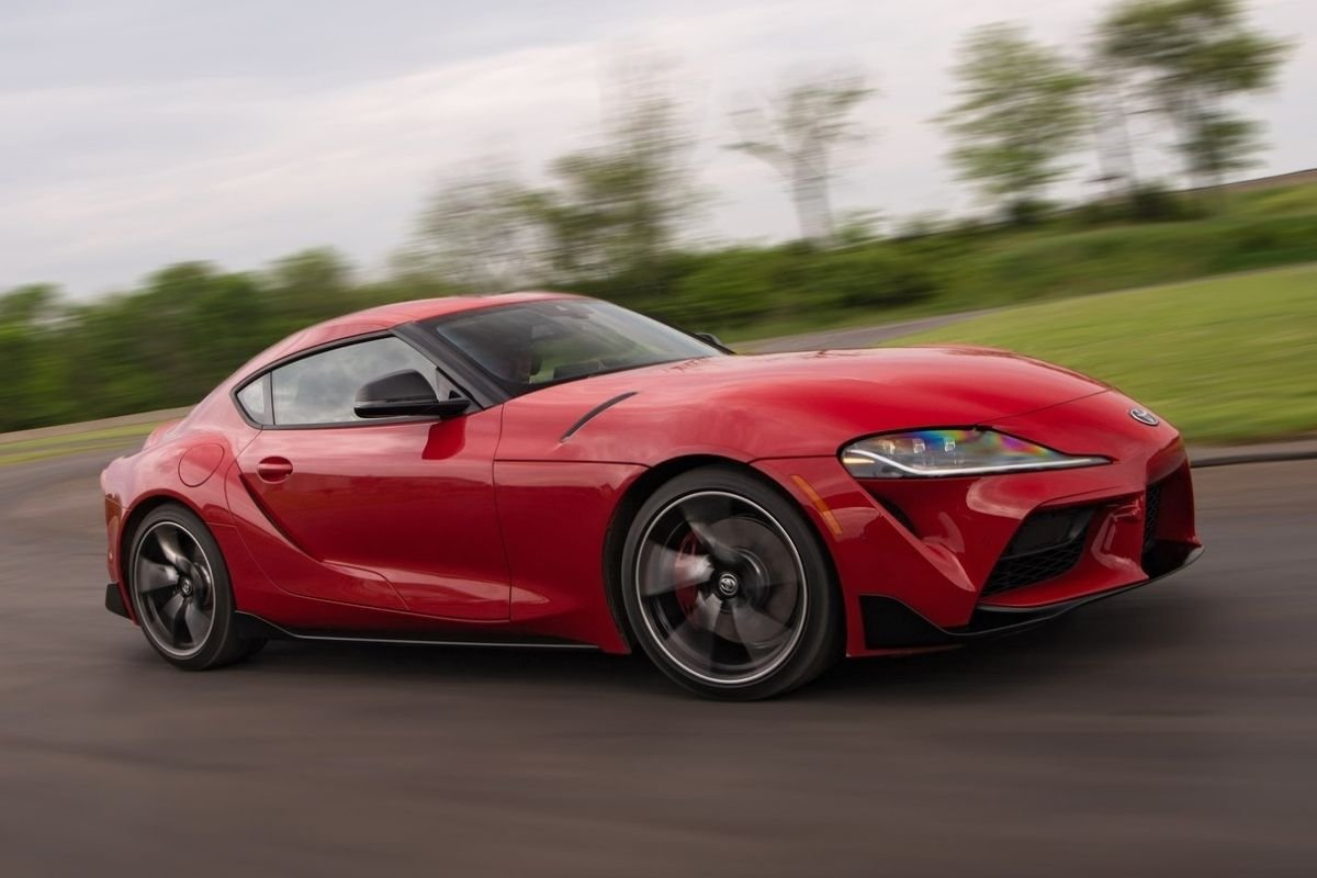 A picture of the Supra on the road.