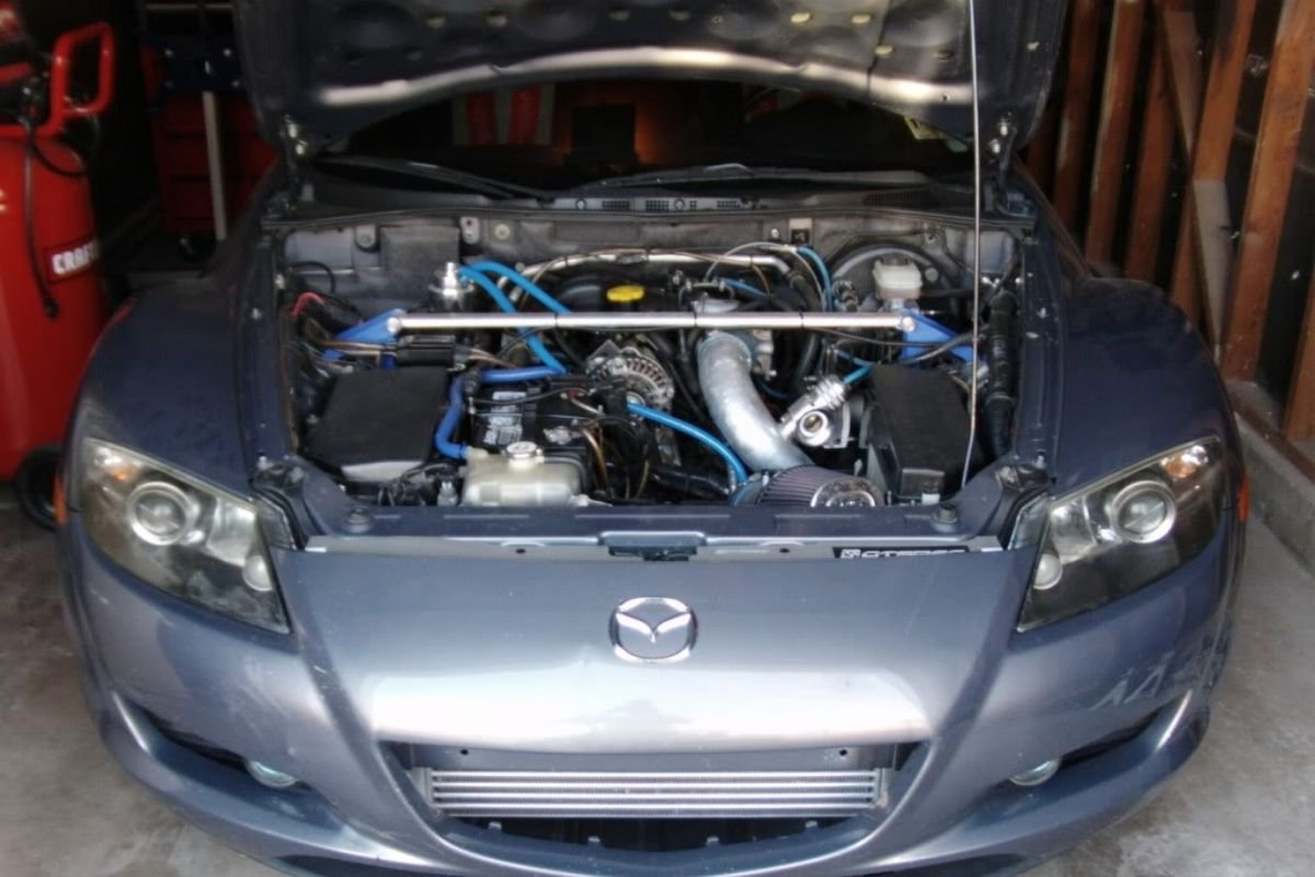 A picture of a Mazda RX8 with an LS1 engine swap.