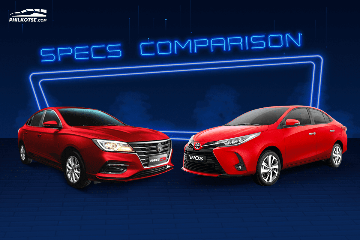 A picture of the MG 5 and Toyota Vios head to head