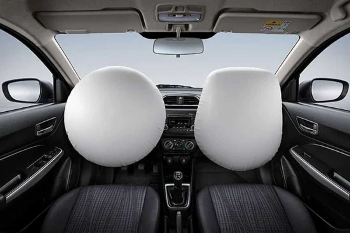 A picture of the Dzire's airbags in action