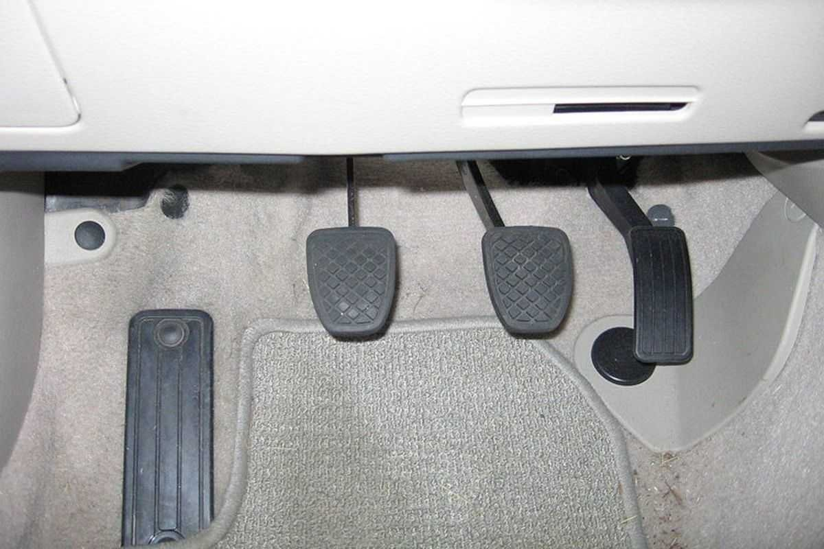 A picture of a car with a dummy pedal.