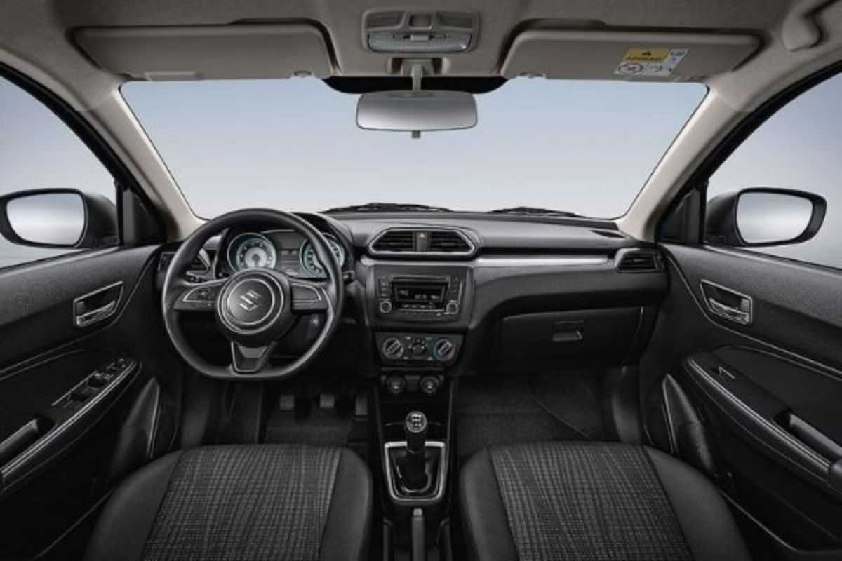 A picture of the interior of the Suzuki Dzire
