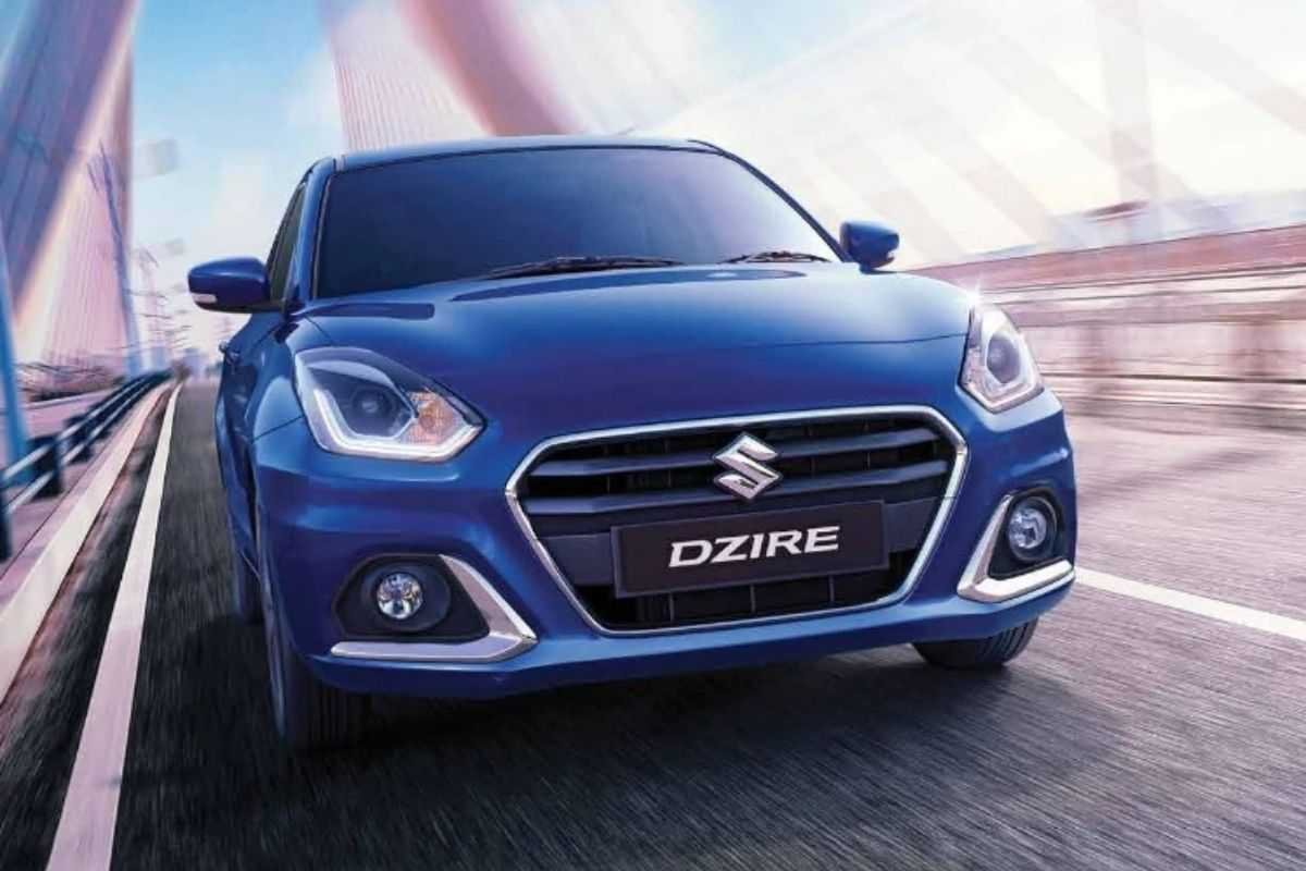 A picture of the Suzuki Dzire on a bridge