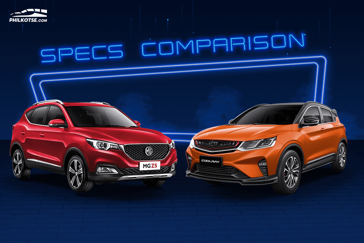A picture of the MG ZS and Geely Coolray head to head
