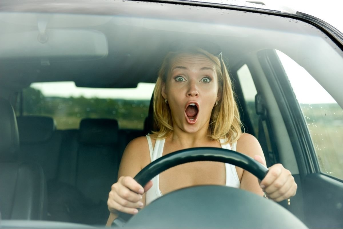 A picture of a scared driver