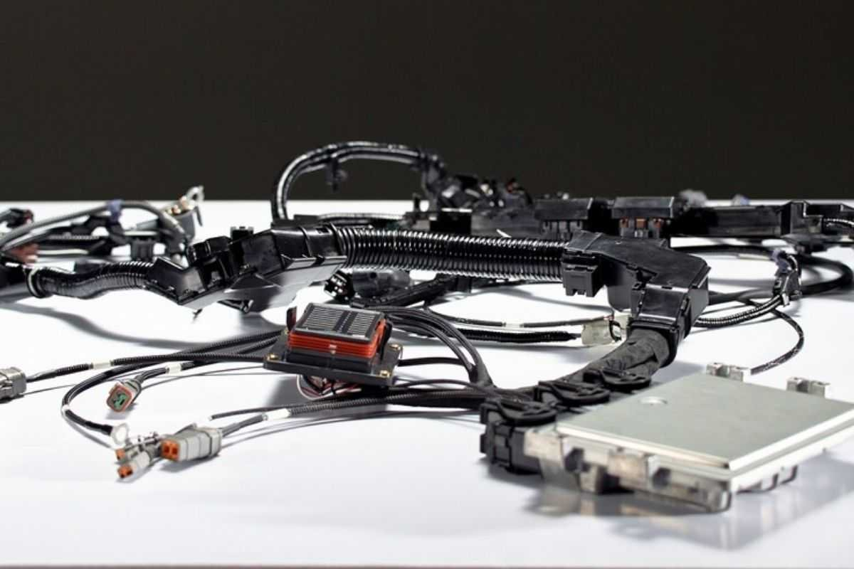 A picture of the Control Package's wiring harness and ECU
