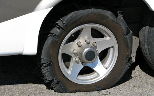 A blown-out tire