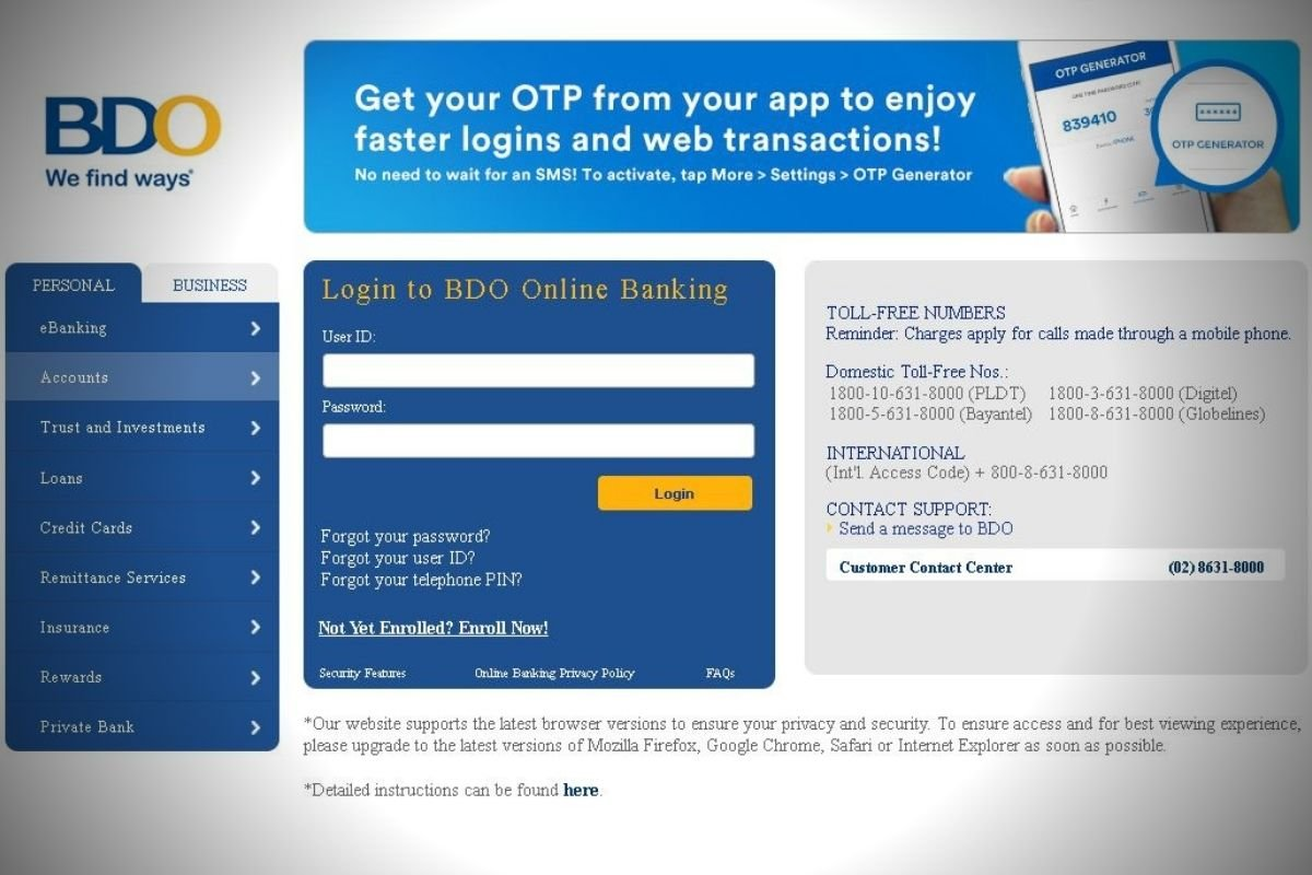 A picture of BDO's online banking page