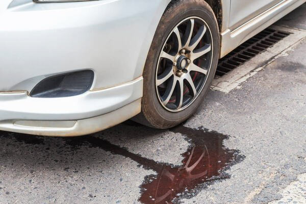 A car with leaking coolants